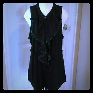 NWT BCBG Maxazria ruffled sleeveless tuxedo blouse
